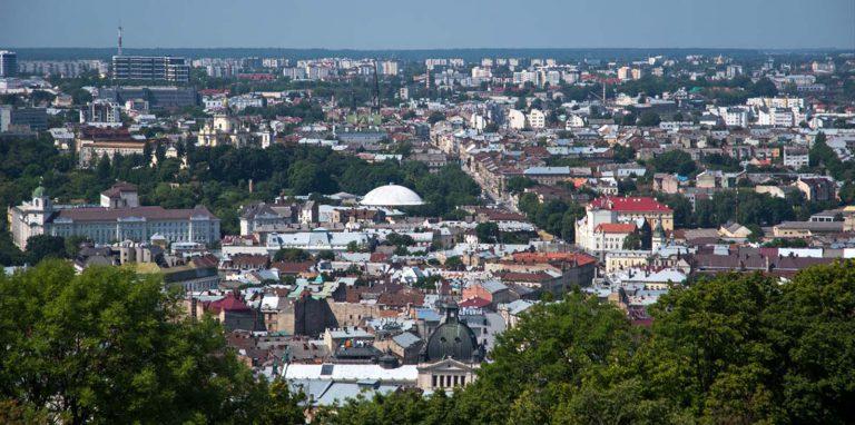 Lwów, widok na miasto z Kopca Unii Lubelskiej